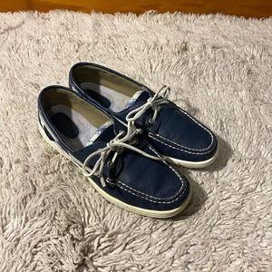 Sperry Blue Plaid Sequin Boat Shoes
